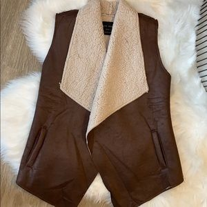 NWT Forever 21 Brown Leather and Fuzzy Vest